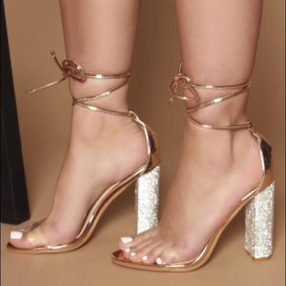 4d6c88f2010 🆕Femme Fatale Diamanté Perspex Heels Rose Gold